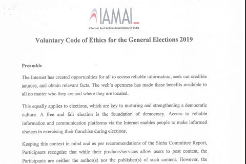 """712e625a9 Lok Sabha polls 2019  IAMAI along with Social Media Firms Release  """"Voluntary Code Of Ethics For The General Elections 2019"""""""